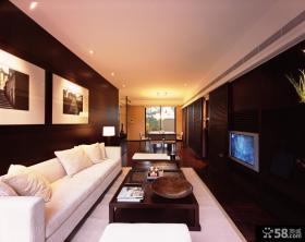 现代中式客厅不吊顶效果图
