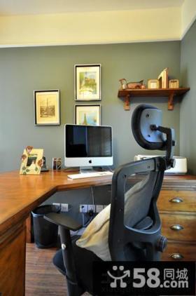 美式风格二居书房书桌设计图