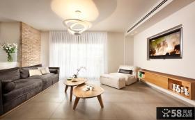 现代客厅嵌入式电视背景墙设计图片