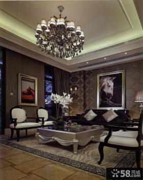 美式别墅客厅家具效果图