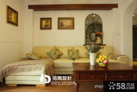 美式乡村风格客厅沙发照片背景墙效果图