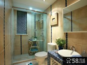 蓝蓝的地中海风格装修卫生间图片