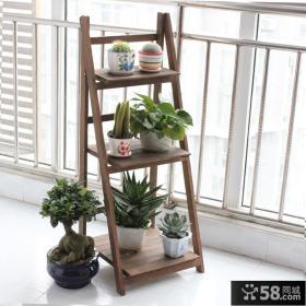 简约阳台木制花架效果图