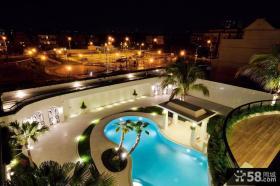 夜间别墅庭院景观设计实景图