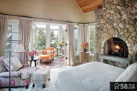 卧室带阳台窗帘装修效果图