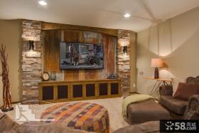 欧式小客厅电视背景墙装饰