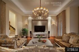 别墅客厅瓷砖电视背景墙效果图欣赏