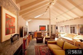 复式楼装修效果图 斜顶客厅装修效果图