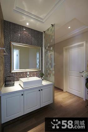 美式风格卫生间洗手台马赛克墙面图片