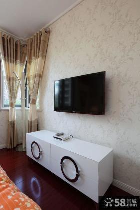 卧室简约电视背景墙壁纸图片
