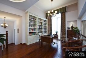 美式书房实木家具摆放效果图