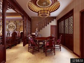 中式别墅餐厅吊顶装修效果图
