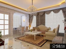 欧式客厅背景墙装饰窗帘