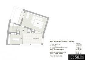 70平米别墅三层平面图
