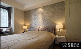 简约卧室床头壁纸背景墙效果图