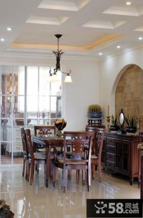 现代中式家庭餐厅吊顶装修图片