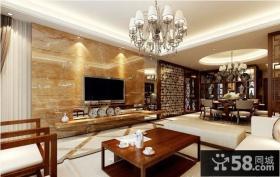 新中式经典设计客厅电视背景墙图片