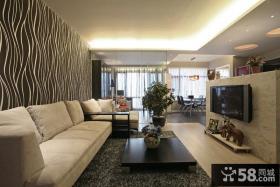 现代风格两室两厅客厅电视背景墙装修效果图片
