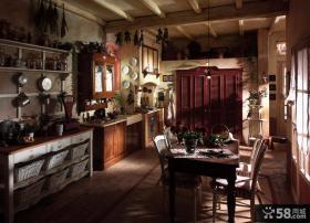 美式乡村风格大厨房设计图片