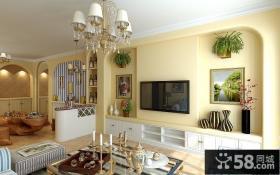 客厅电视背景墙装修效果图 地中海田园风格装修图片