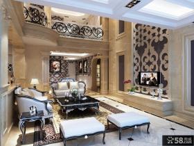 欧式别墅客厅电视背景墙装修图片