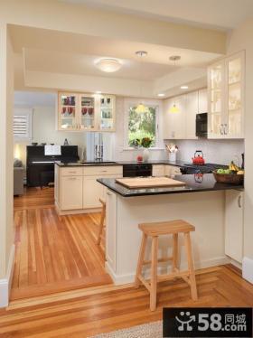 家庭开放式厨房吧台装修设计效果图