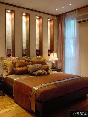 现代卧室床头背景墙效果图