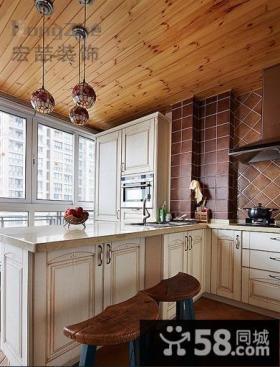 美式田园小户型厨房装修效果图