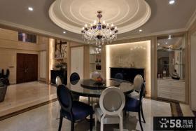 现代家装别墅餐厅圆吊顶设计