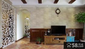美式乡村风格电视柜背景墙装修效果图