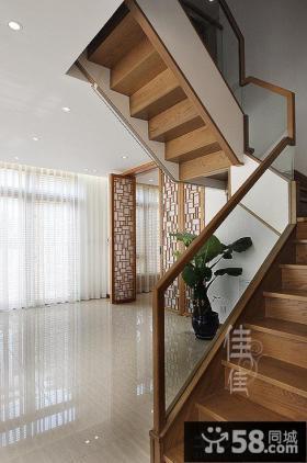 简约中式复式楼楼梯装修效果图
