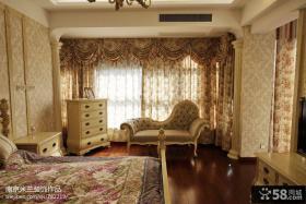 欧式田园风格卧室窗帘效果图