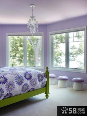 欧式卧室淡紫色装饰 卧室装修效果图