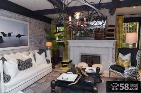 很有后现代特点的美式风格客厅装修效果图