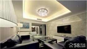 现代简约风格装修客厅瓷砖电视机背景墙图片