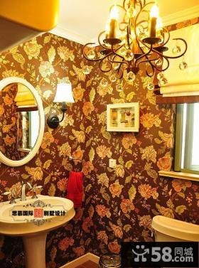 美式风格卫生间壁纸装饰效果图