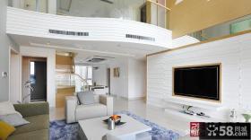 别墅挑高客厅嵌入式电视背景墙装修效果图