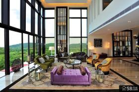现代混搭风格别墅客厅装修效果图