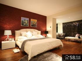 现代风格二居室卧室壁纸背景墙装修效果图