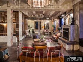 复古风格室内设计客厅电视背景墙图片