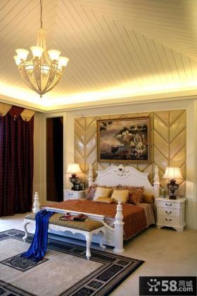 欧式风格别墅主卧室吊顶效果图