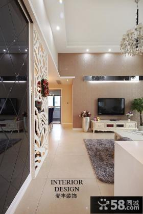 简欧式两室两厅电视背景墙装修效果图