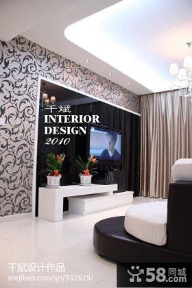 现代简约风格客厅壁纸电视机背景墙装修效果图片