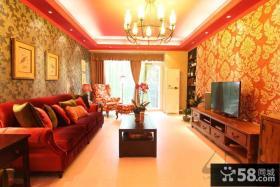 东南亚风格客厅壁纸电视背景墙效果图片欣赏