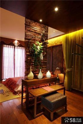 东南亚家装卧室仿古隔断墙设计图片