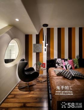 彩色竖条纹卧室壁纸贴图