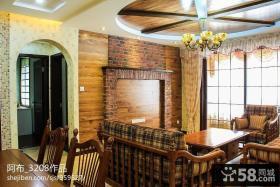 美式乡村风格客厅吊顶装修效果图
