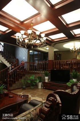 美式复式楼客厅吊顶效果图