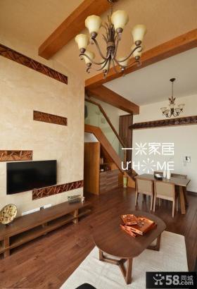 简中式复式楼装修客厅电视背景墙效果图