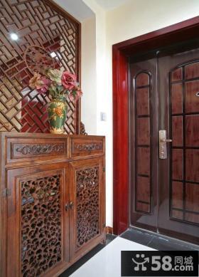 中式进门玄关鞋柜效果图